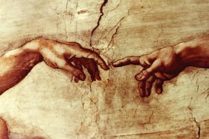 Closeup of the Creation of Man, Sistine Chapel, Michelangelo