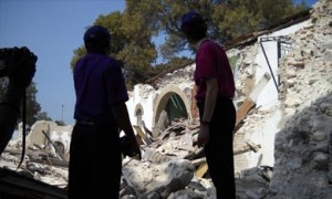 Bishop Duracin with President Bishop Katharine Jefferts Schori, three weeks after the earthquake.